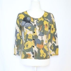 Anthropologie Tabitha Yellow Floral Cardigan Small